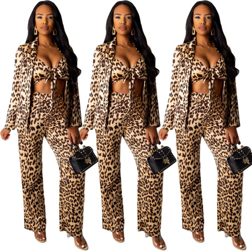 Leopard Print 3 Pieces Bra Top Straight Pants Cardigan Coat YY5072