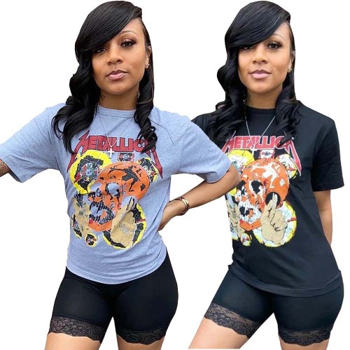 Women's summer fashion print T-shirt L0301