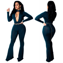 Winter Chest Opening Flare Jumpsuit For Women CY1099