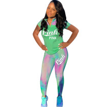 HOT-HOT Letter PINK print Two Pieces Sets HM5196