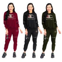 【Hot】Fashion Women 2 Pcs Outfit Tracksuit TRS900