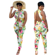 Floral Printed Sleeves Sexy Women Summer Jumpsuit LD603