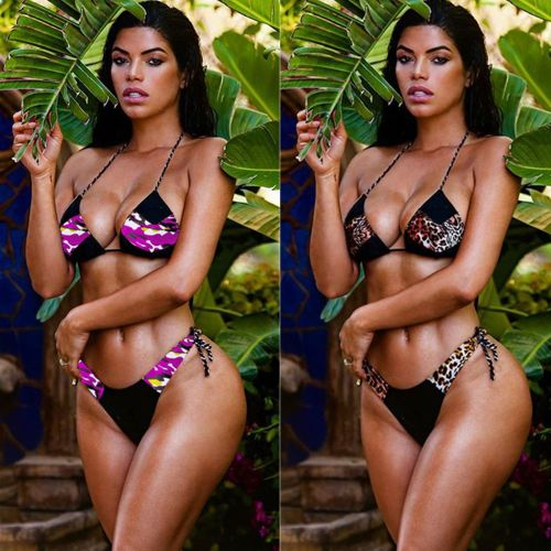Leopard-print stitching bikini female two-piece swimsuit black and white straps MDF5144