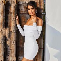 Solid color tight hip dress FD8380