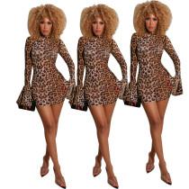 Sexy mesh leopard dress YW005