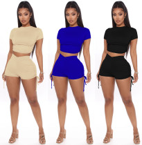 Fashion casual sexy drawstring tie shorts suit two piece set W8271