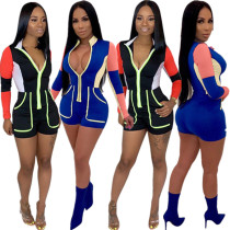 Hot Sale Color Patchwork Short Jumpsuit With Zipper DN8202