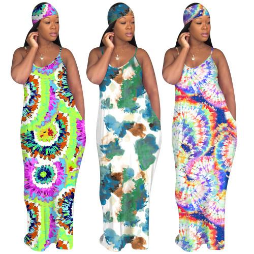 Women's printed tie-dye hooded plus size dress KK8195