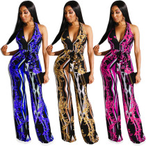 Sleeveless Female Leisure Halter Neck Printing Jumpsuit R6216