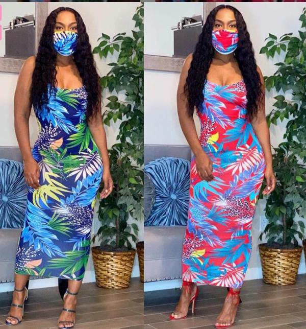 Fashion sling print sexy dress Midi skirt with mask FF1008