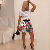Sexy women's hot sexy printed pleated skirt SFYZ022