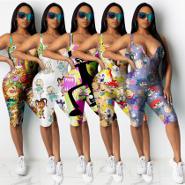 Chest zip cartoon print urban casual 5-color jumpsuit ALS177