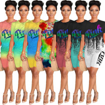 Fashion letter gradient printed round neck short sleeve T-shirt shorts suit U7095