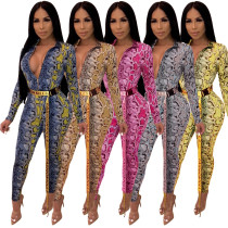 Zip Up Snake Print Bodycon Jumpsuit (Without Belt) A8332