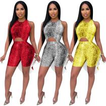 Irregular Sleeveless Top Lady Shorts Hot Sell Snake Print Outfits QQM3819