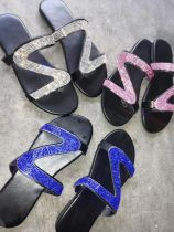 Summer diamond-lined slippers comfortable flat large Z607940930199