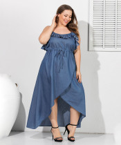 Sexy jeans casual dress with stitched waist and slim body TB5079