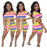 Wholesale Price Colorful 2 Pieces Stripe Shorts Suits T3365H