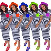 Fashion casual striped print pocket slim dress CM749