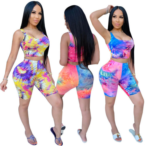 Fashionable Women's Tie Dye Printed Casual Sports Suit Two-piece Suit TK6087