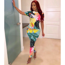 Trendy Colorful Short Sleeves Printing Bodycon Jumpsuit YYF8044