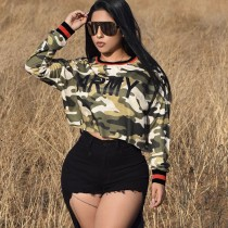 Letters Printed Fashion Camouflage Tops Long Sleeves T-shirt MDF-5032