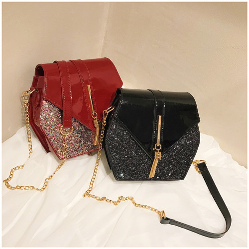 Hexagonal one-shoulder bag with 100 sets of sequins MC3336