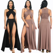 Sexy Evening Dresses in Irregular Pure Colour Open-folded Dresses FP3102