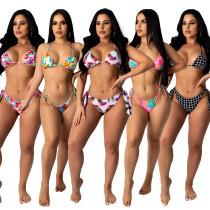 Multicolor printed bikini swimsuit set detachable chest cotton strap design high tolerance MD2990