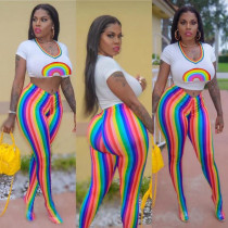 Rainbow Printing T Shirt Colorful Tight Pants Casual Slim Sets HH8881
