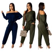 Casual Women Pure Color Off Shoulder Long Jumpsuit N9155