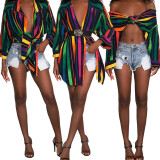 Long Sleeves Women Shirt Turn Down Collar Multicolor Dress GL6195