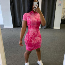 Fashion street shot half open collar short sleeve printed slim dress women D1737021
