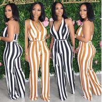 Deep V hanging neck halter print sexy casual with belt jumpsuit MH5006