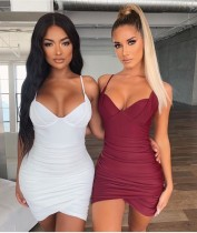 Sexy low-cut pleated camisole dress ZY1101
