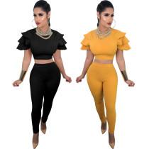 Leisure Solid Color Hot Suits Crop Top Pencil Pants LS6056