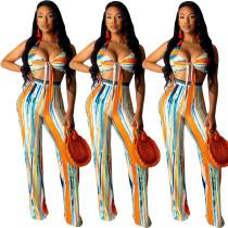 Newest Printing Suits Sexy Bra Top high Waist Ladies Pants YY5071