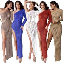 One Slash Nesh Hollow Out knitting Sexy Club Dress ZS013