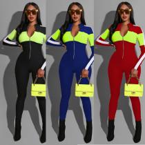 Fashionable Sports Deep V Multicolor Jumpsuit MOS1019