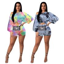 Long sleeve shorts puff sleeve print suit NK110
