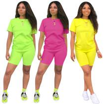Wholesale Price Women Plain Color Leisure Short Sets QQM3779