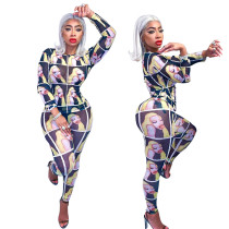 Leisure Mesh Women Long Style Printing Bodycon Outfits M935