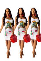 Factory Price Slim Bodycon Printing Sleeveless Dress AMM8174