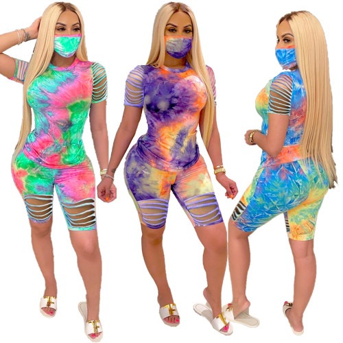 Tie-dye burnt two-piece set (without mask) MN8206