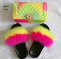 Color frosted diamond check big Chanel jelly bag with fox fur grass lady slippers set JBD00801