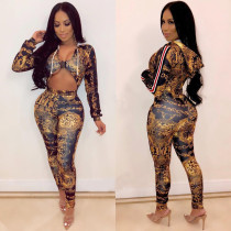 Unique Buckle Sexy Printing Hooded Tight Jumpsuits H1097
