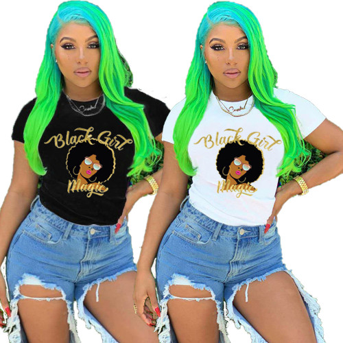 Women's character printed short-sleeved cotton T-shirt LML123