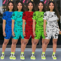 Casual Letter Printed Short Sleves And Shorts Two Piece Sets OEP6198