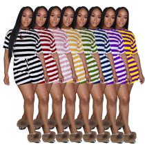 Women's Striped Jumpsuit Multicolor Explosion Shorts Short Sleeve AL091