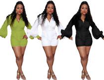 Fashion Plain Color Women Flares Long Sleeved Short Jumpsuit DMM8093